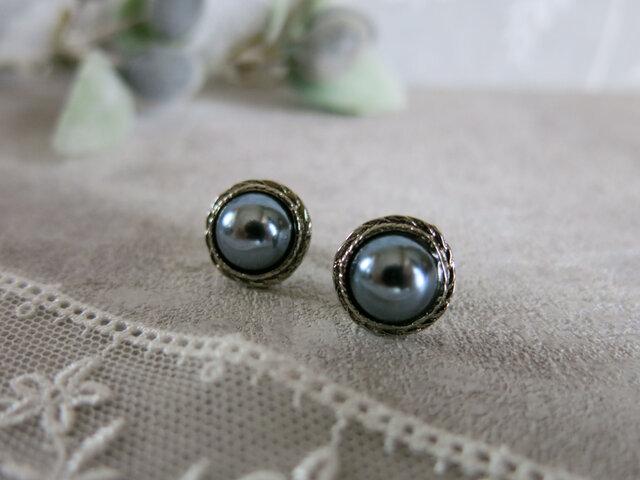 1点のみ☆13mm 黒真珠のような美しさ アンティークボタンピアス パールピアス ヴィンテージボタンピアス シルバー枠の画像1枚目