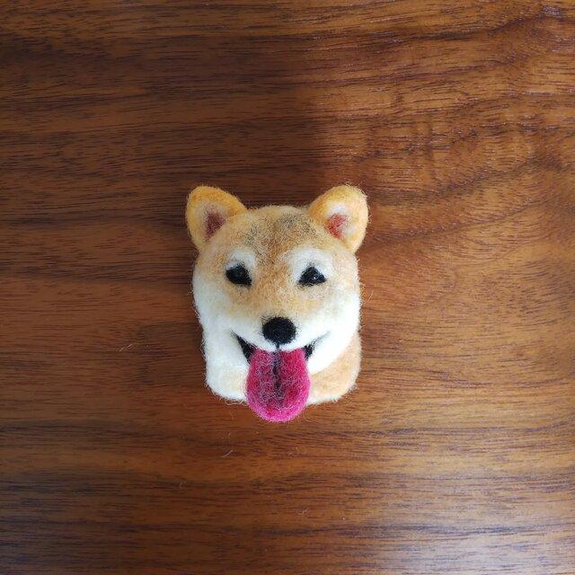 柴犬の顔ブローチの画像1枚目