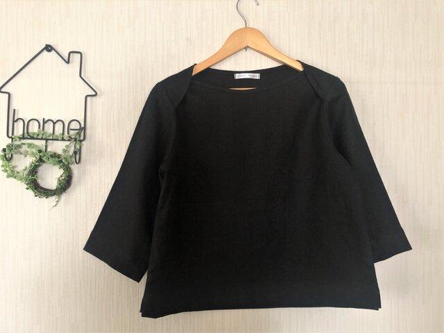 【ご予約商品】ブラックリネン シンプルブラウス 七分袖の画像1枚目