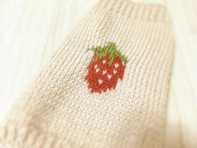 【オーダー可】いちごのセーター(小型犬用・胴回り33)【手編み】の画像1枚目