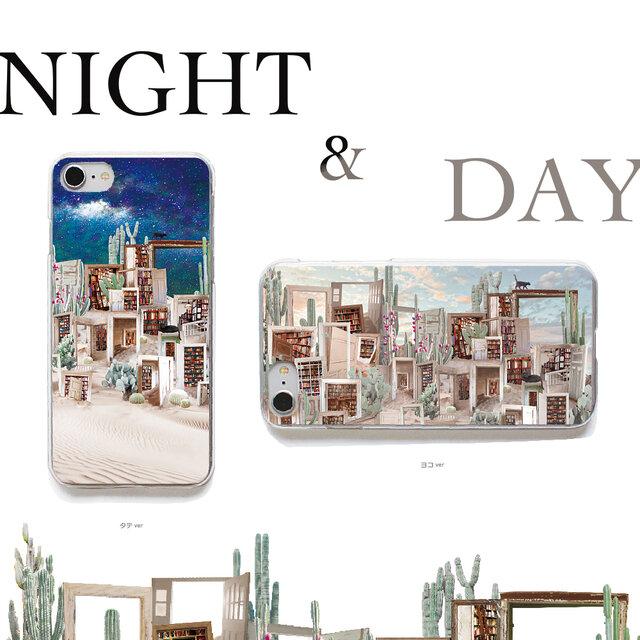 おさんぽネコin砂漠のサボテン図書館 プリントケース iPhone11 iPhoneケース各種 スマホケースの画像1枚目
