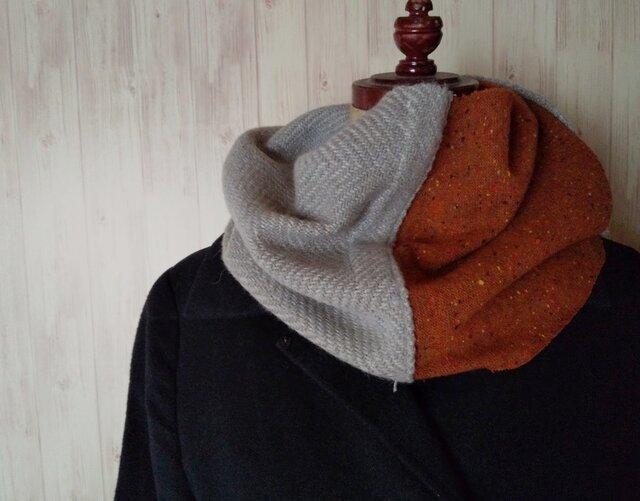 手織りスヌード ブルーグレーの画像1枚目