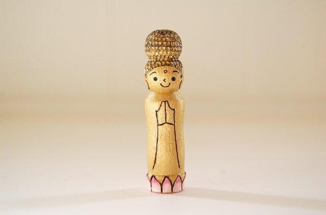[conocokeshi]仏像こけし*祈り*蓮華*金色[134]の画像1枚目