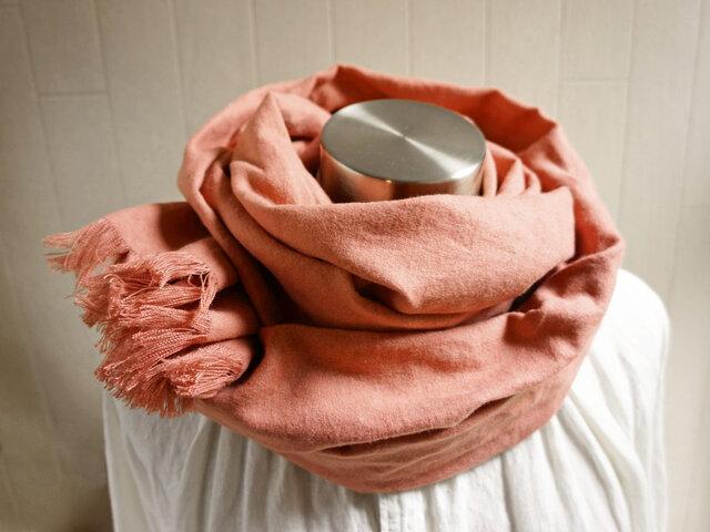 秋冬 あったか起毛リネンのストール ベージュピンクの画像1枚目
