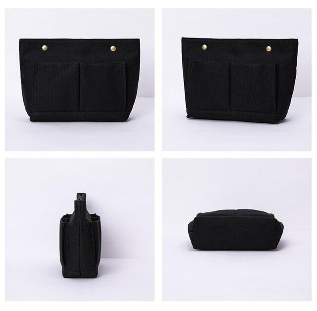 【0030黒】上質インナーバッグ 持ち手付き しっかり 帆布 キャンバス 巾着 化粧ポーチ トートバッグの画像1枚目