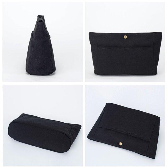 【0026黒】インナーバッグ しっかり 帆布 キャンバス 巾着 ポーチ トートバッグの画像1枚目