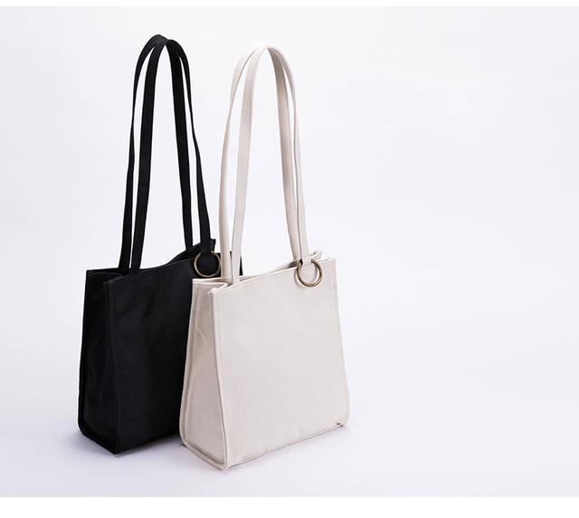 【0012黒】持ちやすい帆布バッグ  ボックストート しっかり キャンバストートバッグ  オシャレ 大容量 男女兼用 の画像1枚目