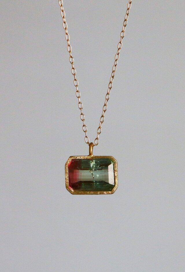 天然石*バイカラー・トルマリン ネックレス*18K Goldの画像1枚目