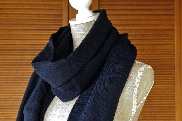 播州織×藍染マフラー(一枚物/巾90cm)/濃の画像1枚目