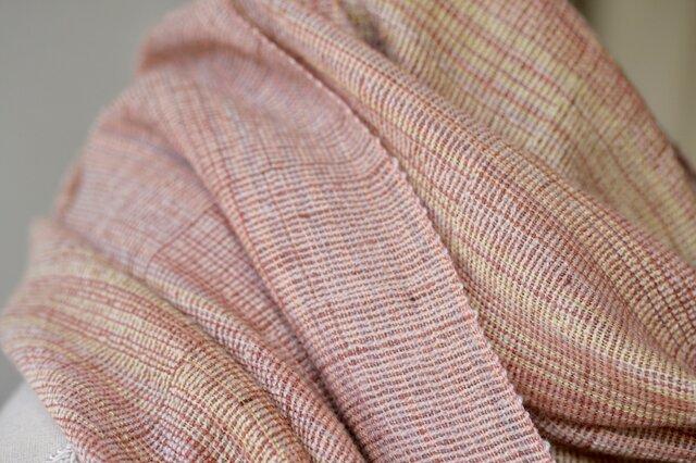 絹紡糸xカシミヤ,紡績タッサーシルクストール sj190305の画像1枚目