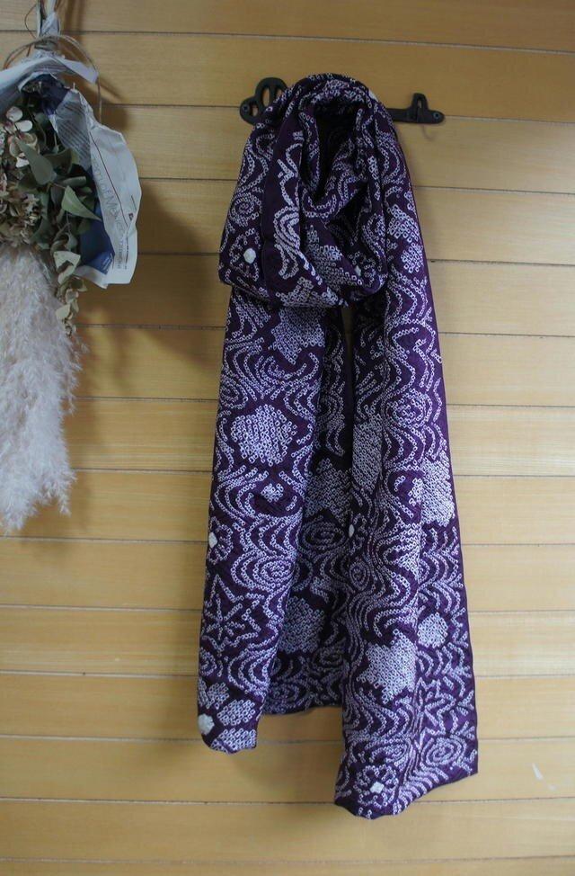 紫の絞りの羽織から  ストール 着物リメイクの画像1枚目