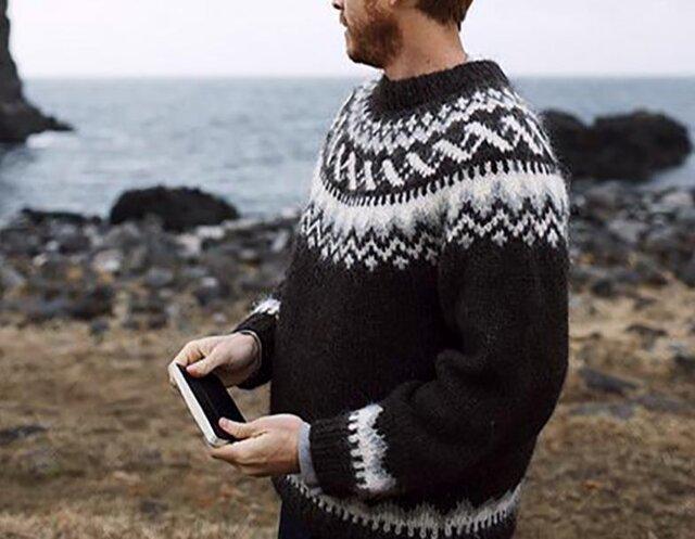 【限定】北欧風刺繍たっぷり ウール・ セーター ニットLH733の画像1枚目