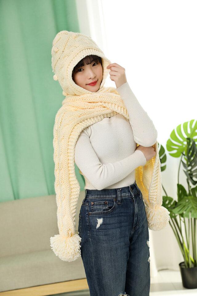 手編み オシャレ帽子+マフラー  薄ベージュの画像1枚目