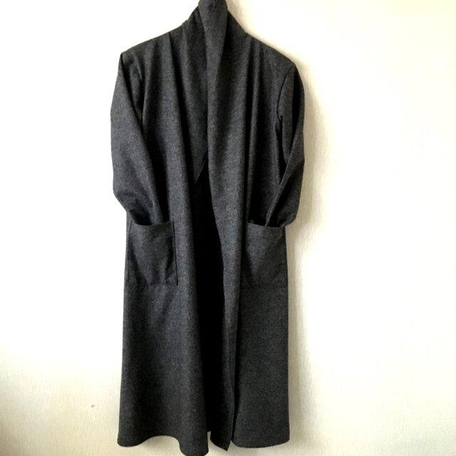 圧縮ウールガウンコート 杢チャコールグレーFの画像1枚目
