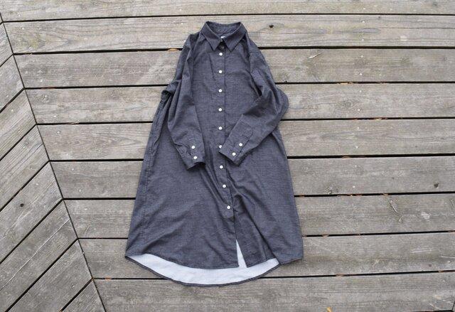 『warm black』 shirt onepiece  播州織 シャツワンピースの画像1枚目