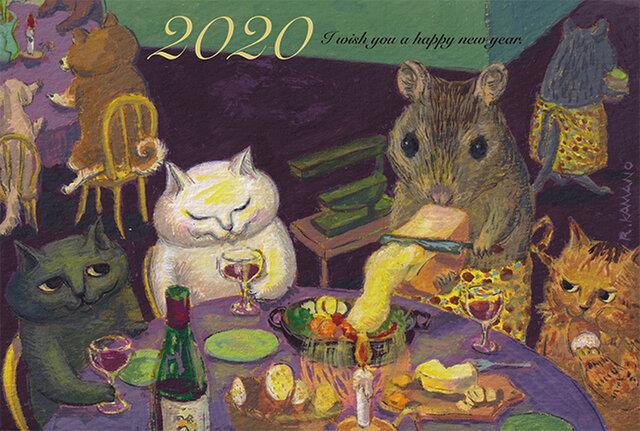カマノレイコ 2020年・猫年賀状5枚セット「ねずみのレストラン」の画像1枚目