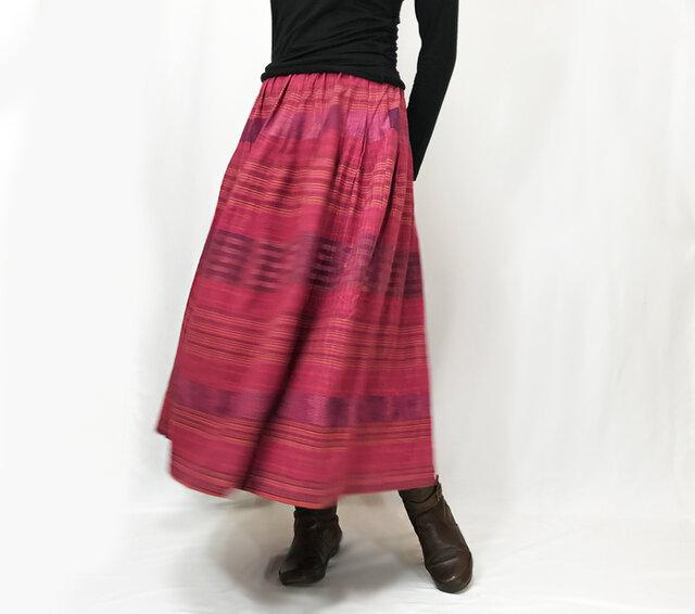再販★手織り綿絣ロングスカート、茜(あかね)色、オールシーズンの画像1枚目