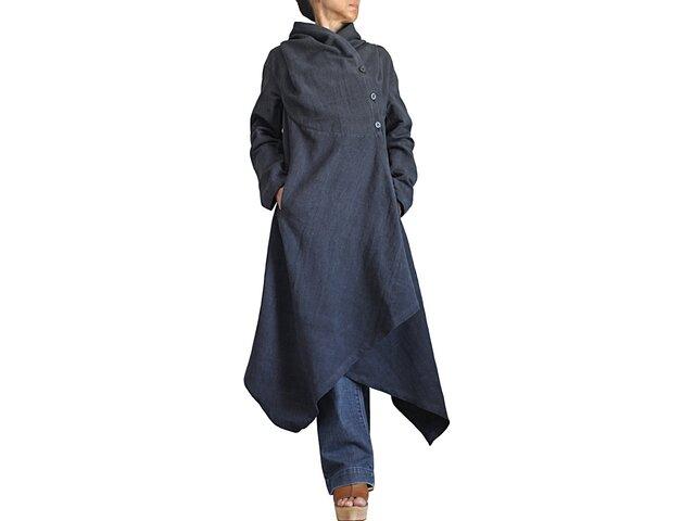 ジョムトン手織り綿フーデッドドレスコート(JFS-159-01)の画像1枚目
