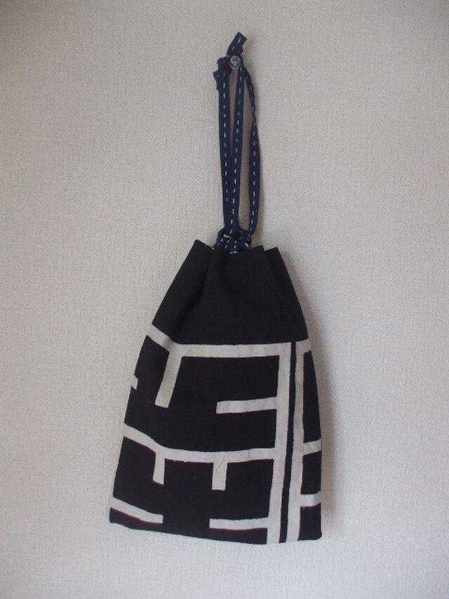 袢纏と歌舞伎の絵柄の信玄袋の画像1枚目