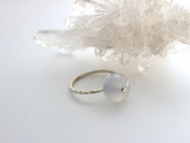 Silver Point Ring*ドイツ産天然カルセドニー*シルバー925リング*no.351の画像1枚目