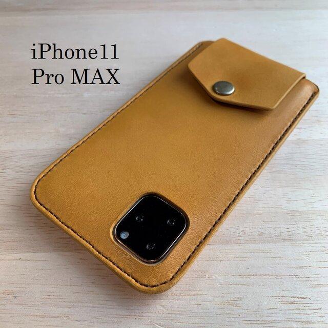 【新作】iPhone11 Pro MAXカバー ケース 【名入れ・選べる革とステッチ】の画像1枚目