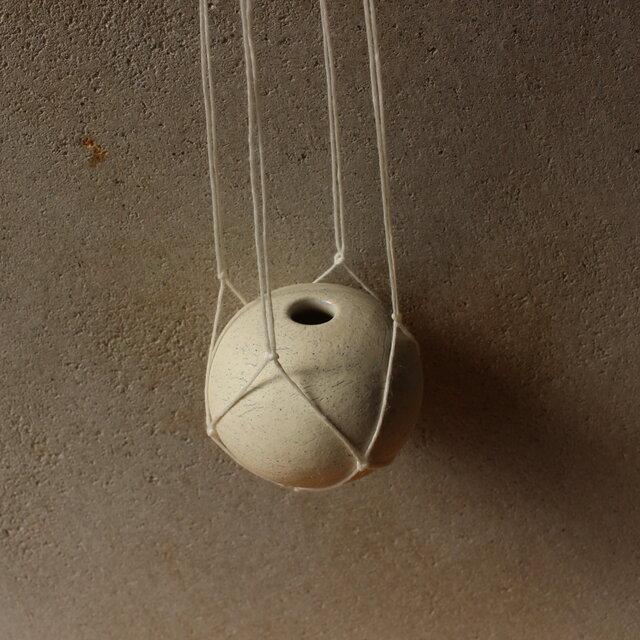 地球 the earth ハンガーベイス 花器 白 ロウ引き麻プランツハンガーの画像1枚目