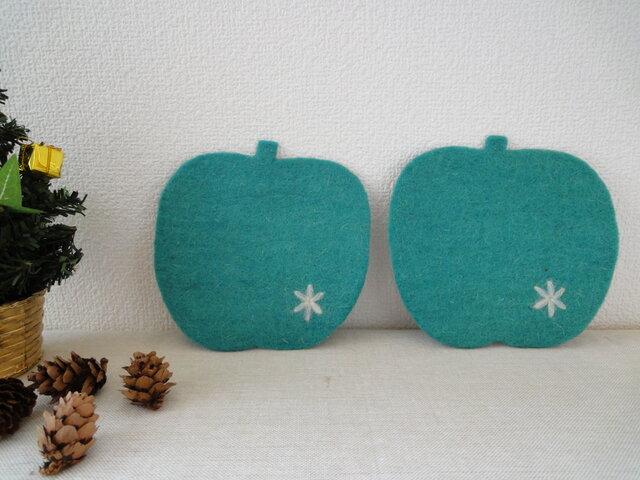 *再出品*羊毛フェルトコースター・りんご みどり の画像1枚目