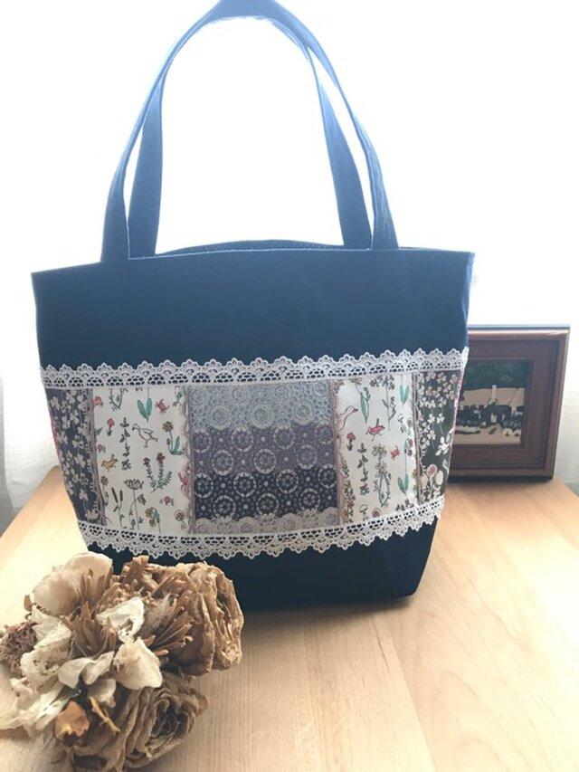 クリスマスセール PJC刺繍 帆布deパッチワークトートバッグの画像1枚目