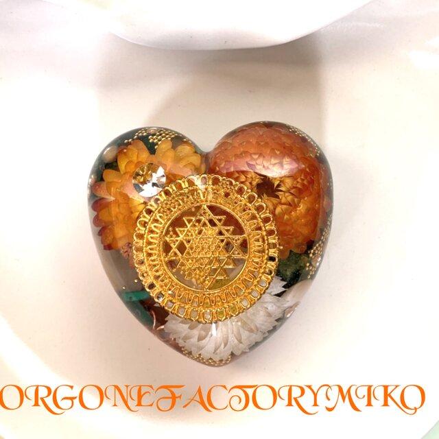 ♡物質面・精神面でも豊かな富をもたらすシュリヤントラ ケオン 高波動 幸運 ハート型オルゴナイトの画像1枚目