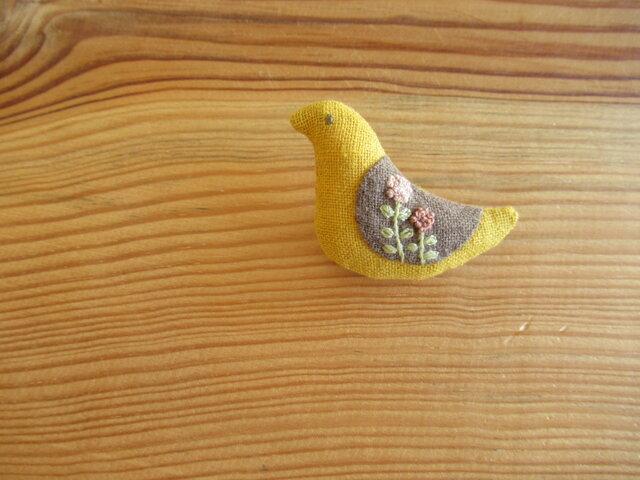 小鳥のブローチ マスタード、セピアの翼の画像1枚目