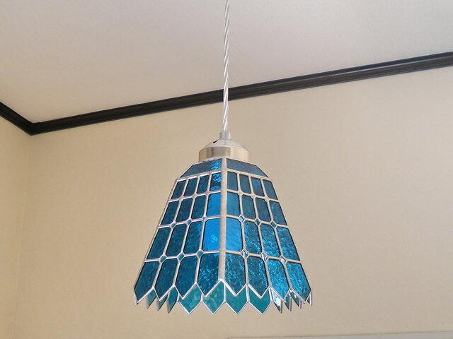 ステンドグラスペンダントライト・ブルーナイトスター (夜空の星)吊り下げ照明・ガラス Lサイズ・39の画像1枚目