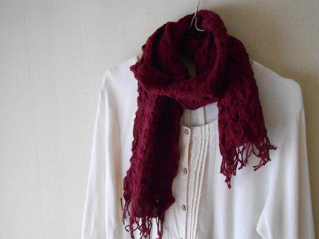 もこもこミニマフラー 手紡ぎ手織り シルク・ラムウール ボルドーの画像1枚目