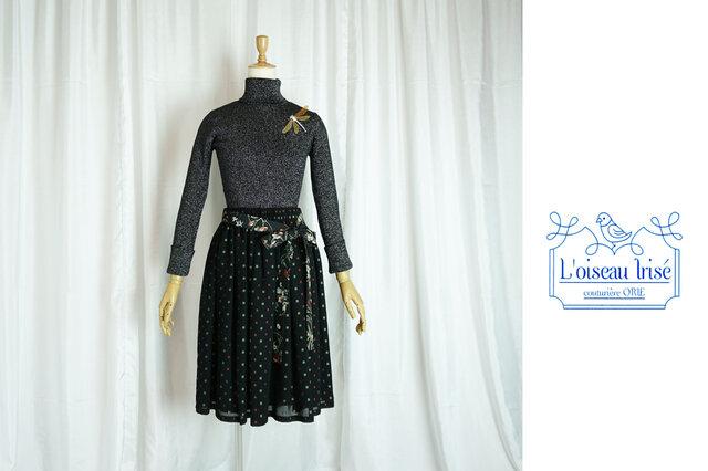 レトロジョーゼットのギャザースカート ナチュラル丈の画像1枚目