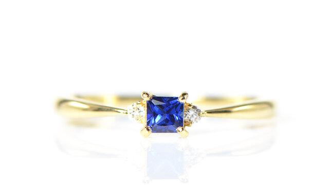 K18 ブルーサファイア×ダイヤモンド リング K18イエローゴールド トリア YK-BL006CIの画像1枚目
