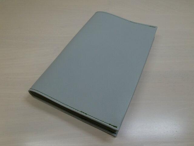 新書サイズ、コミック対応・スムース・水色・ゴートスキン・一枚革のブックカバー・0387の画像1枚目