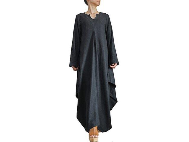 柔らかヘンプのドレープドレス ロングスリーブ(DNN-098-01)の画像1枚目