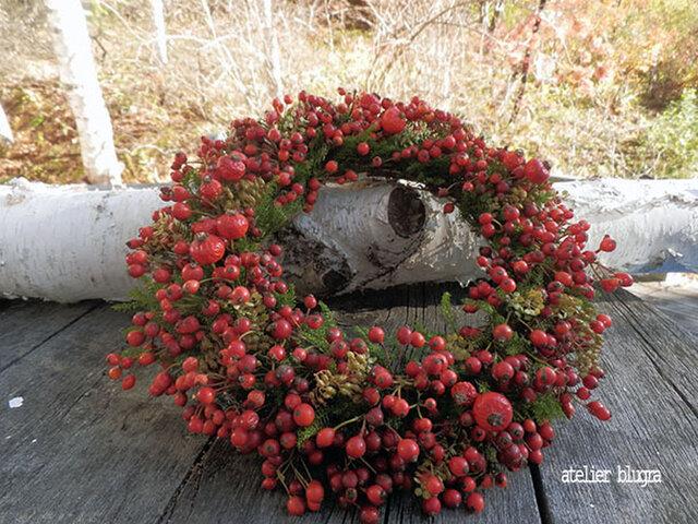 atelier blugra八ヶ岳〜秋色ノイバラの実Wreath01の画像1枚目