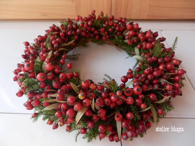 atelier blugra八ヶ岳〜秋色ノイバラの実Wreath001Sの画像1枚目