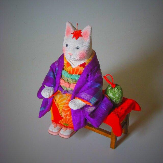 縮緬福猫 紅葉猫(もみじねこ) その八の画像1枚目