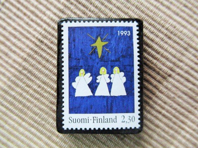 フィンランド クリスマス切手ブローチ5625の画像1枚目