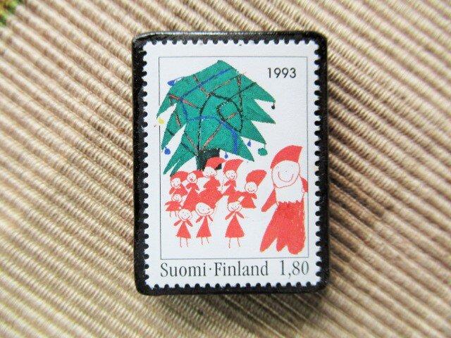 フィンランド クリスマス切手ブローチ5626の画像1枚目