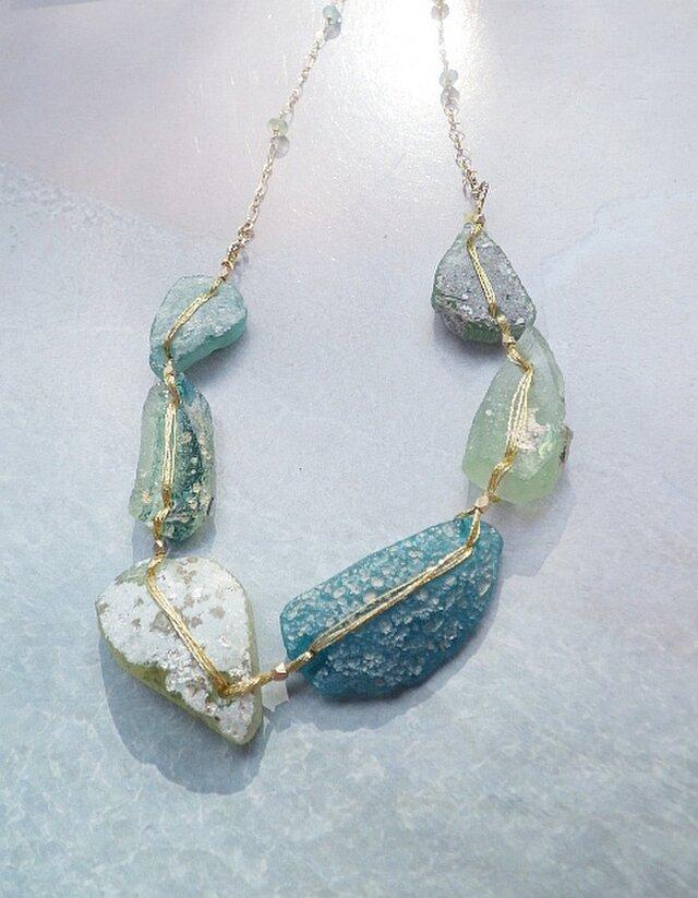 *14kg*4WAY! Ancient Roman Glass&Ocean Braceletの画像1枚目
