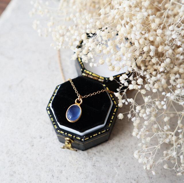 【14kgf】宝石質ブルーカルセドニーの一粒ネックレスの画像1枚目