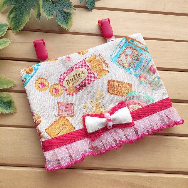 【ゆうパケット送料無料】ハンドメイド 移動ポケット レトロなお菓子 リボン レースの画像1枚目