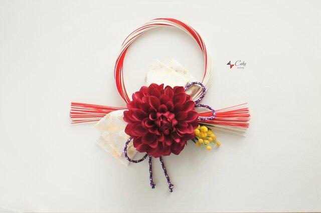 冬の新作 正月飾り(鶴×赤)【しめ縄】の画像1枚目