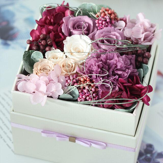 la fleurir(ラ フリール)プリザーブドフラワー ラベンダー/ピンク 結婚祝い・誕生日・サプライズギフトの画像1枚目