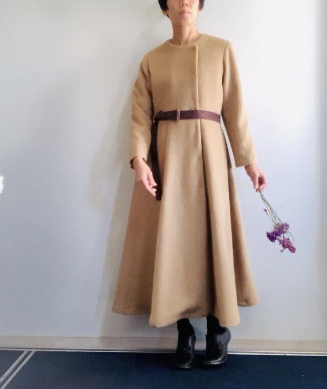 アルパカシャギー 毛並の美しいXラインのドレスコート ロング丈 ベージュの画像1枚目