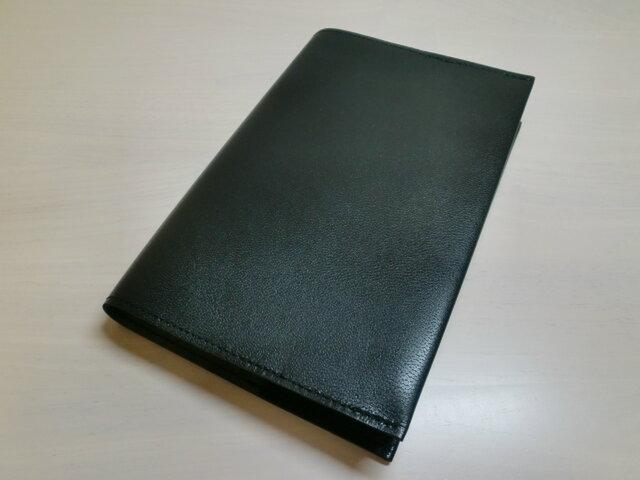 ハヤカワ文庫トールサイズ対応・ブラック・ゴートスキン・一枚革のブックカバー・0399の画像1枚目