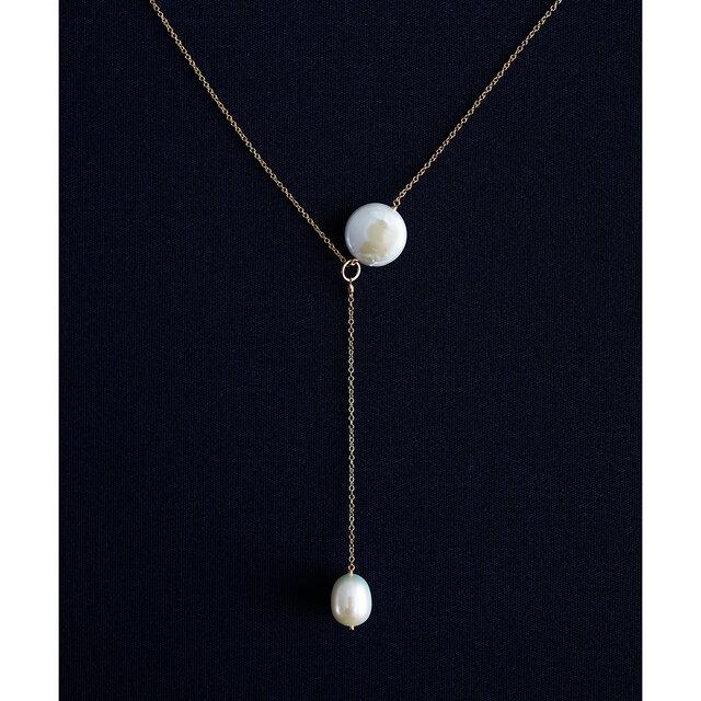 淡水真珠による満月と月の雫のY字セミロングネックレス50cm ~Hanaの画像1枚目