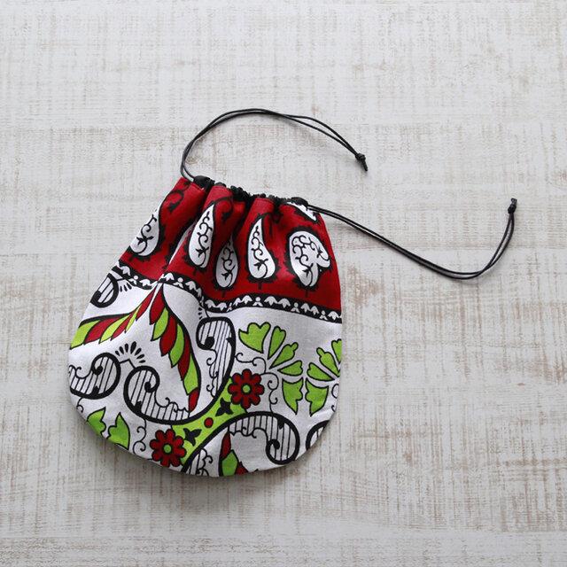アフリカ布『カンガ』の巾着の画像1枚目